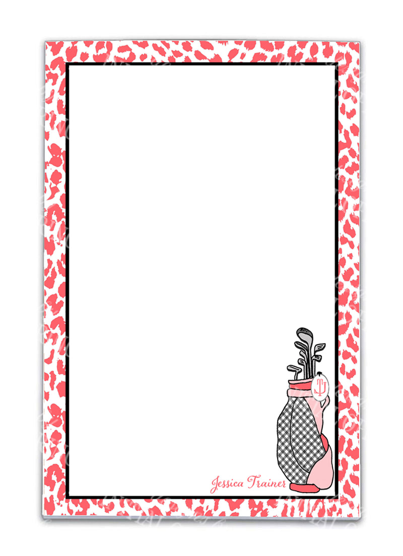 Coral and Black Golf Bag Notepad