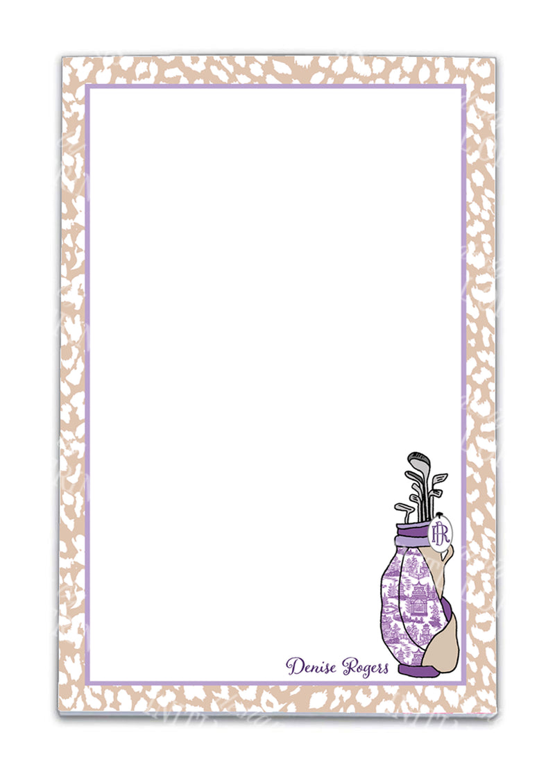 Golf Bag Lavender and Khaki Notepad
