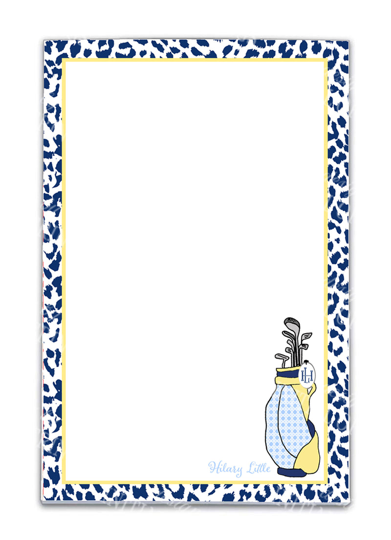 Navy and Yellow Golf Bag Notepad