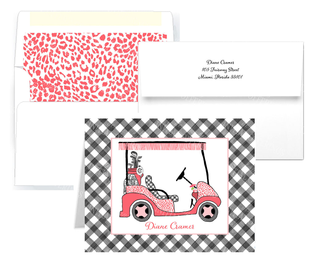 Golf Cart Coral and Black Notecards