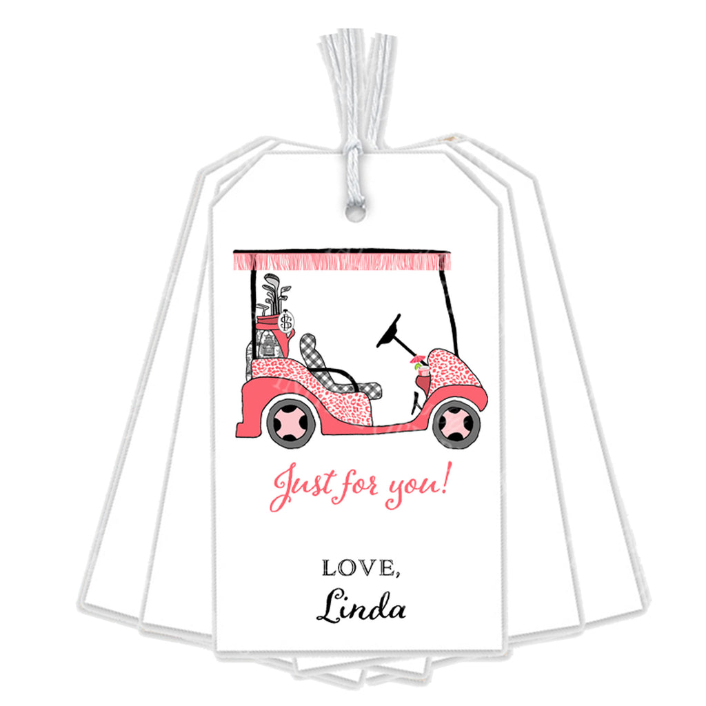 Golf Cart Coral and Black Gift Tags