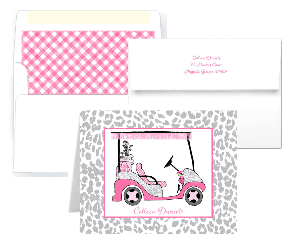 Golf Cart Hot Pink and Grey Notecards