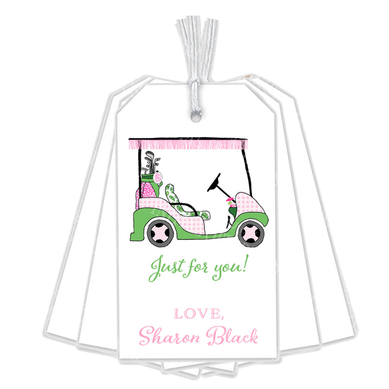 Golf Cart Pink and Green Gift Tags