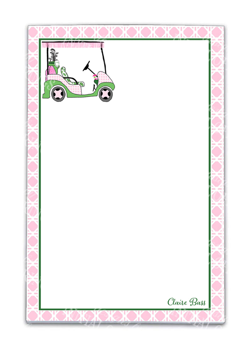 Pink and Green Golf Cart Notepad