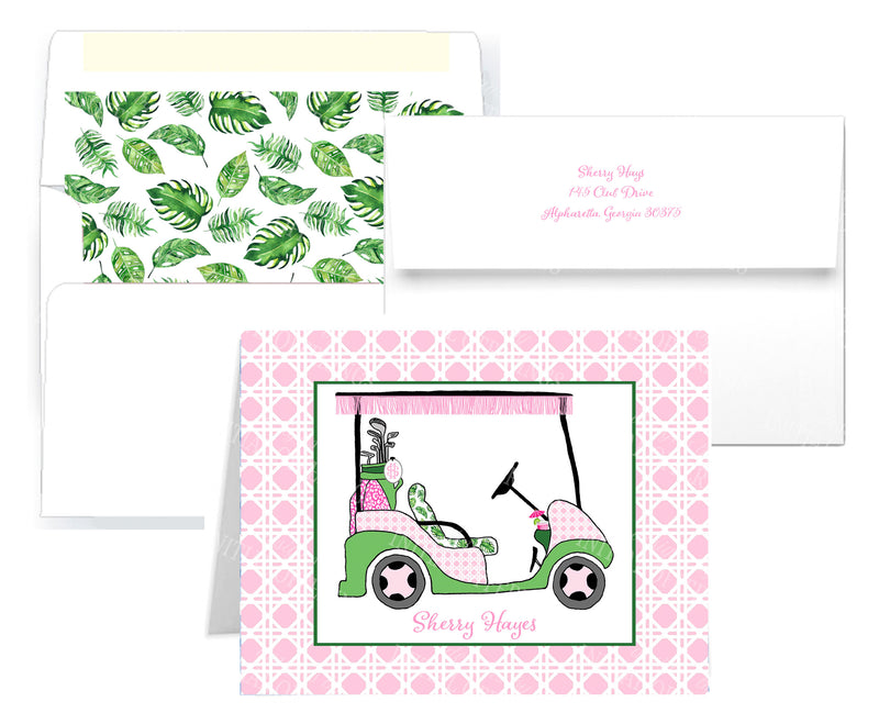 Pink and Green Golf Cart Notecards