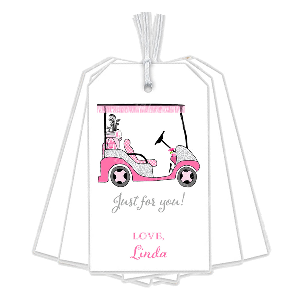 Golf Cart Hot Pink and Grey Gift Tags