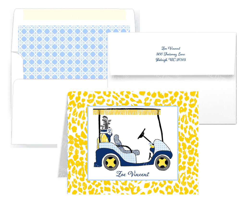 Golf Cart Navy and Yellow Notecards