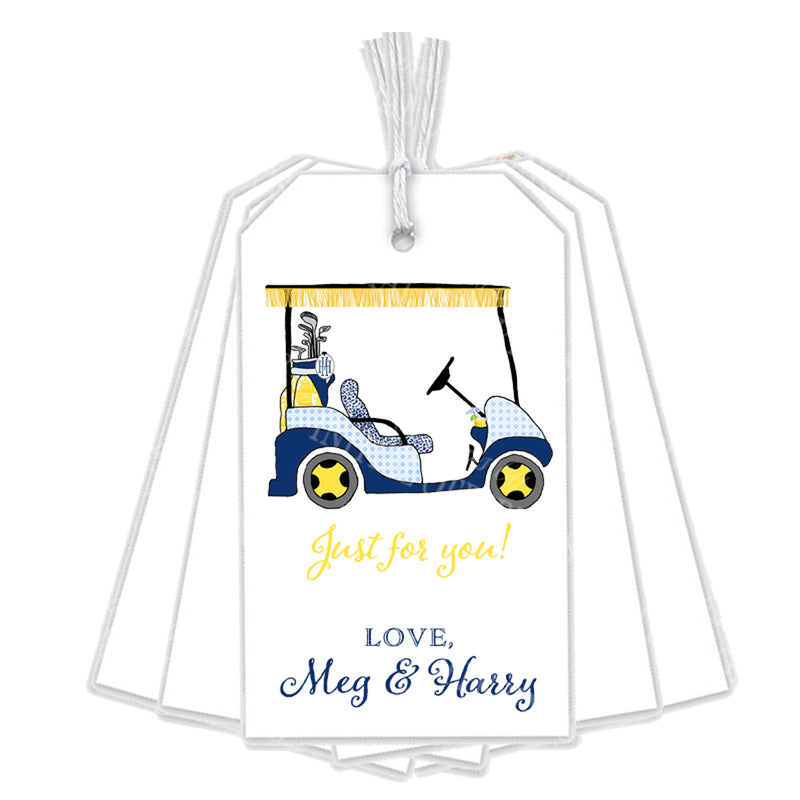 Navy and Yellow Golf Cart Gift Tags