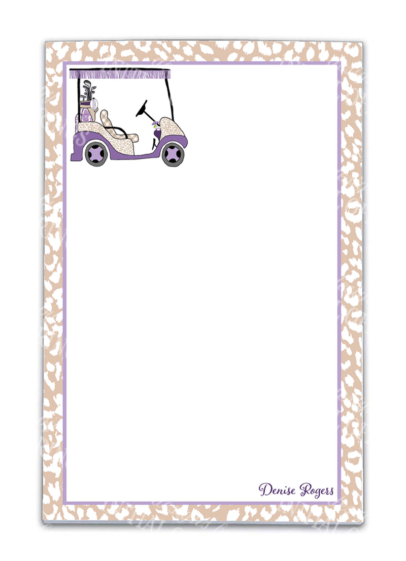 Golf Cart Lavender and Khaki Notepad
