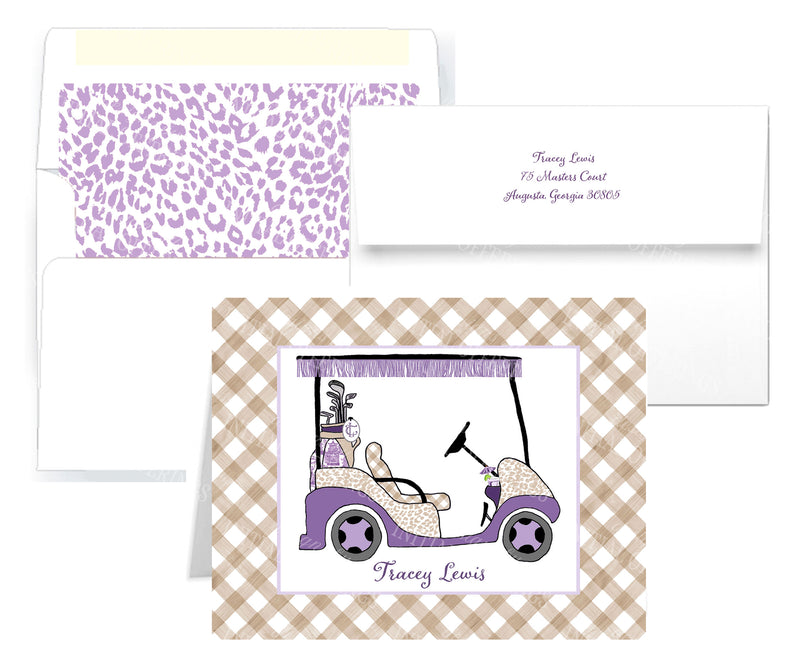 Golf Cart Lavender and Khaki Notecards