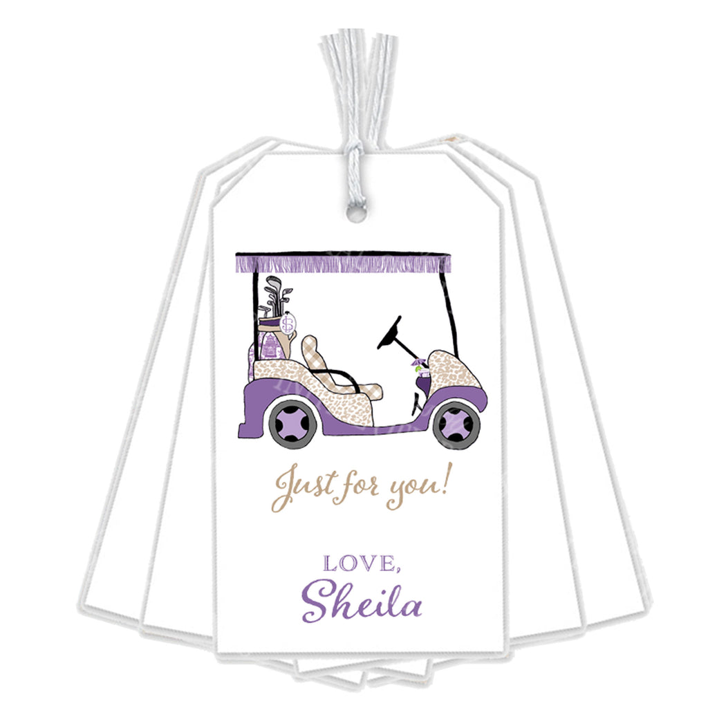 Golf Cart Lavender and Khaki Gift Tags