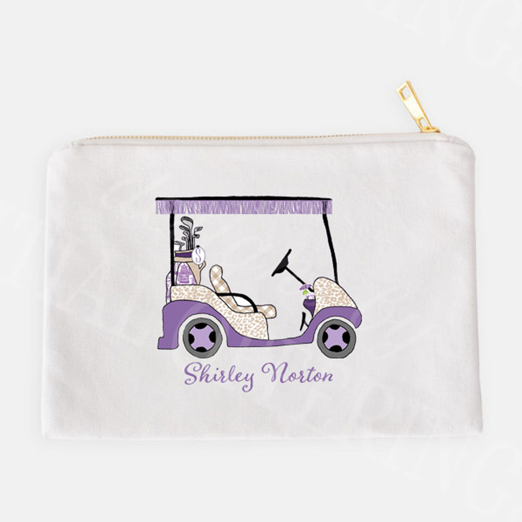 Golf Cart Lavender and Khaki Accessory Case