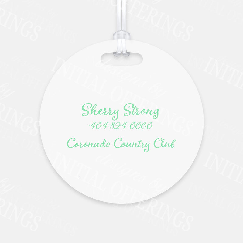 Mint and Grey Golf Cart Bag Tag