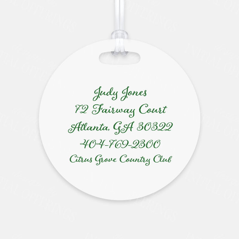 Pink and Green Golf Cart Bag Tag