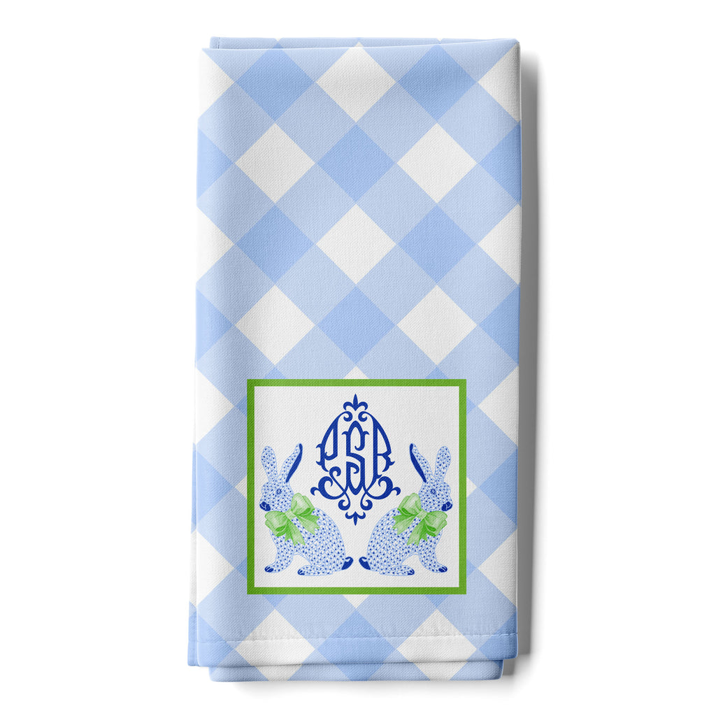 Blue Bunnies Hand Towel with Monogram