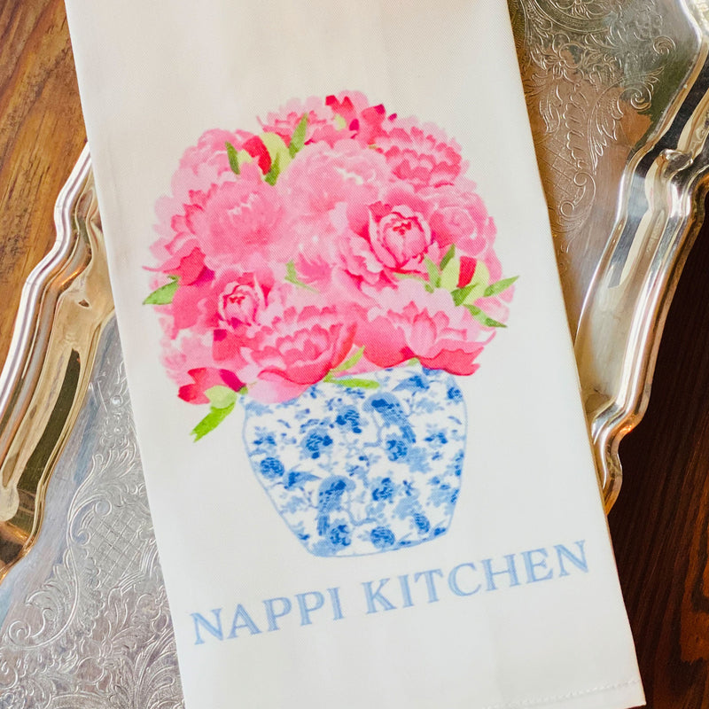Bouquet Pink Peonies in Blue Planter Hand Towel