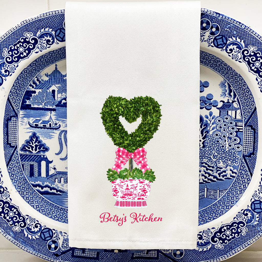 Heart Topiary Hand Towel