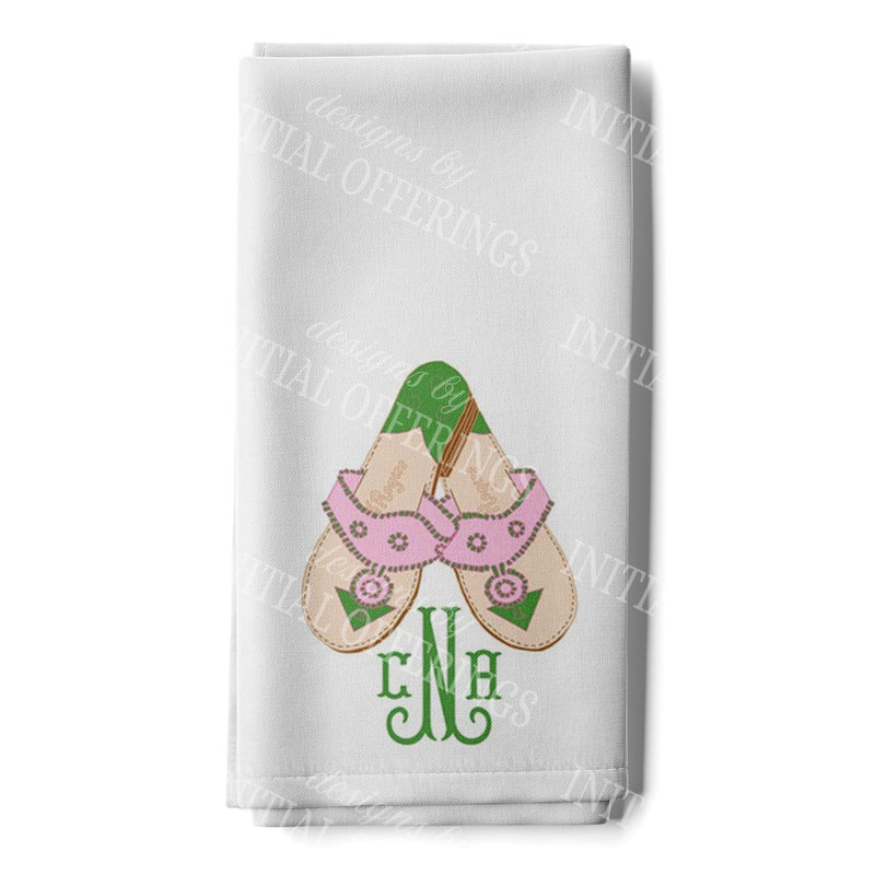 Pink and Green Jacks with Monogram Hand Towel