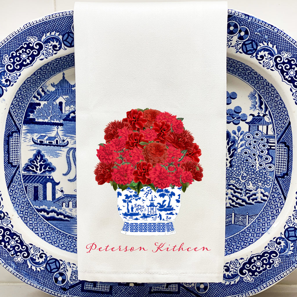 Red Bouquet Hand Towel