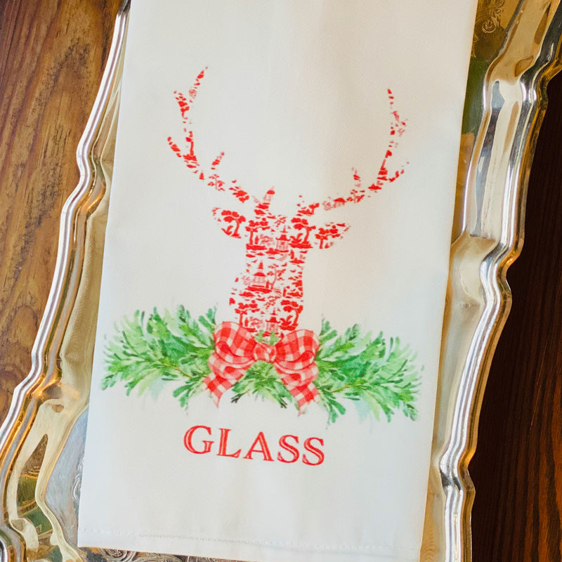 Red and White Pagoda Toile Stag Head Swag Hand Towel
