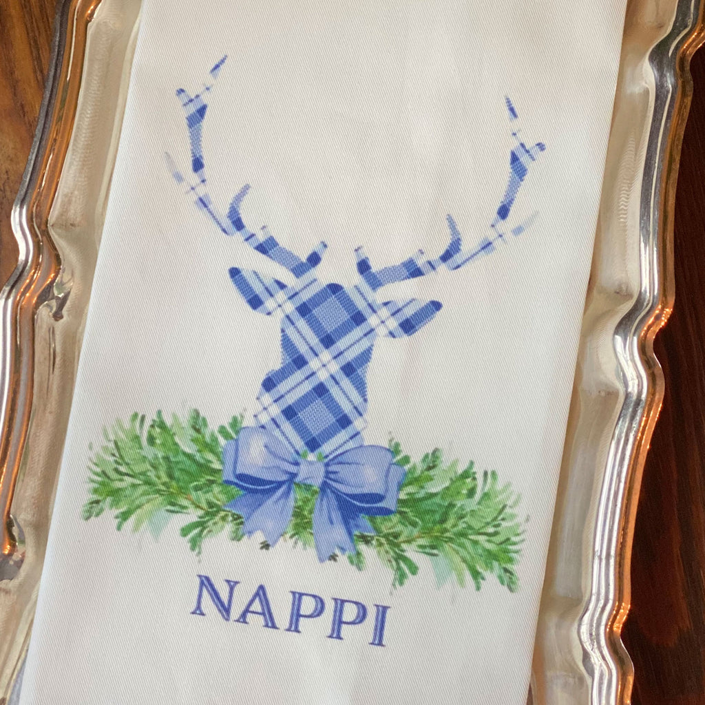 Blue and White Plaid Stag Head Swag Hand Towel