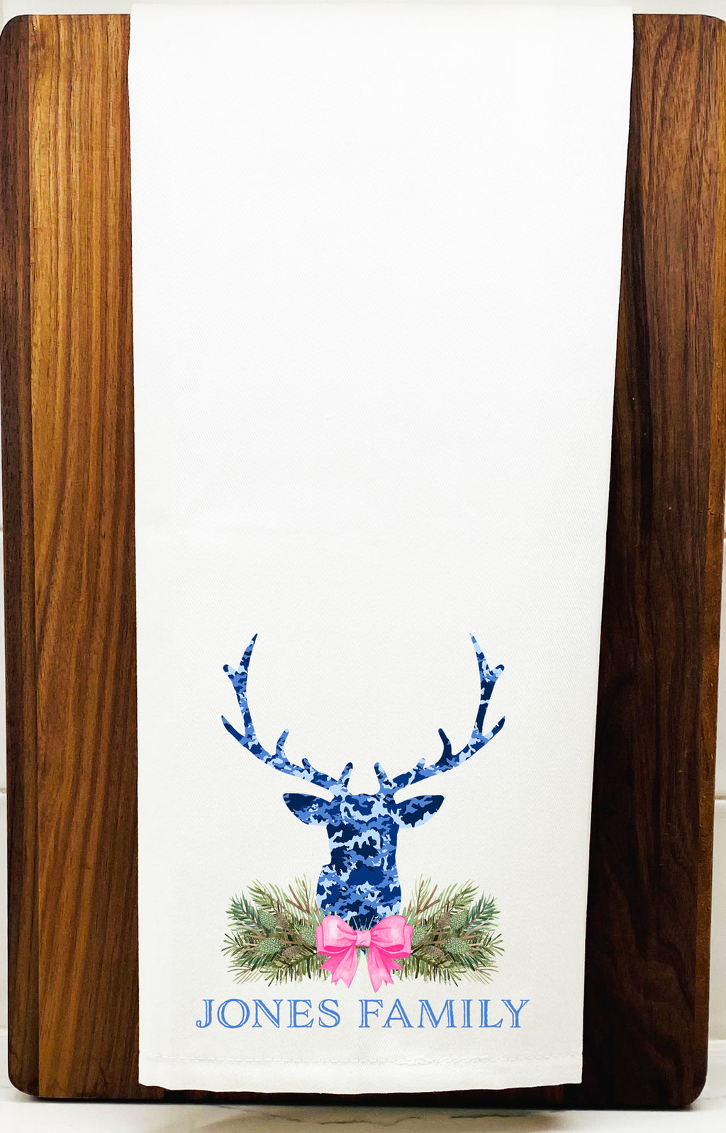 Blue Camo Stag Head Swag Hand Towel
