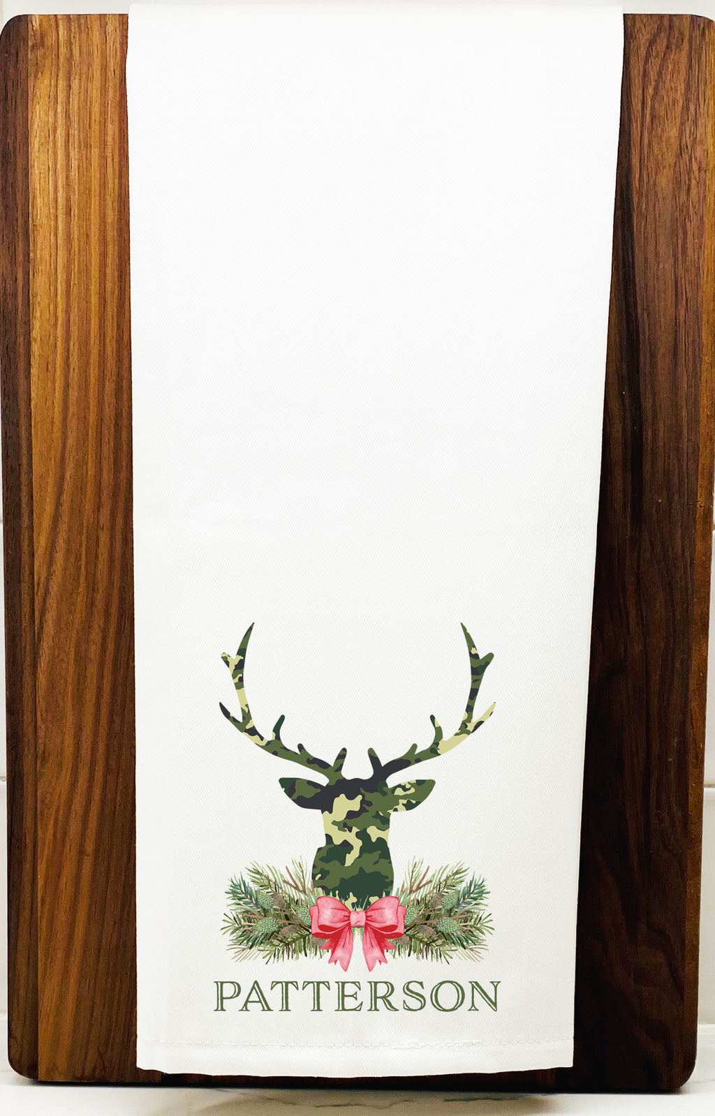 Green Camo Stag Head Swag Hand Towel