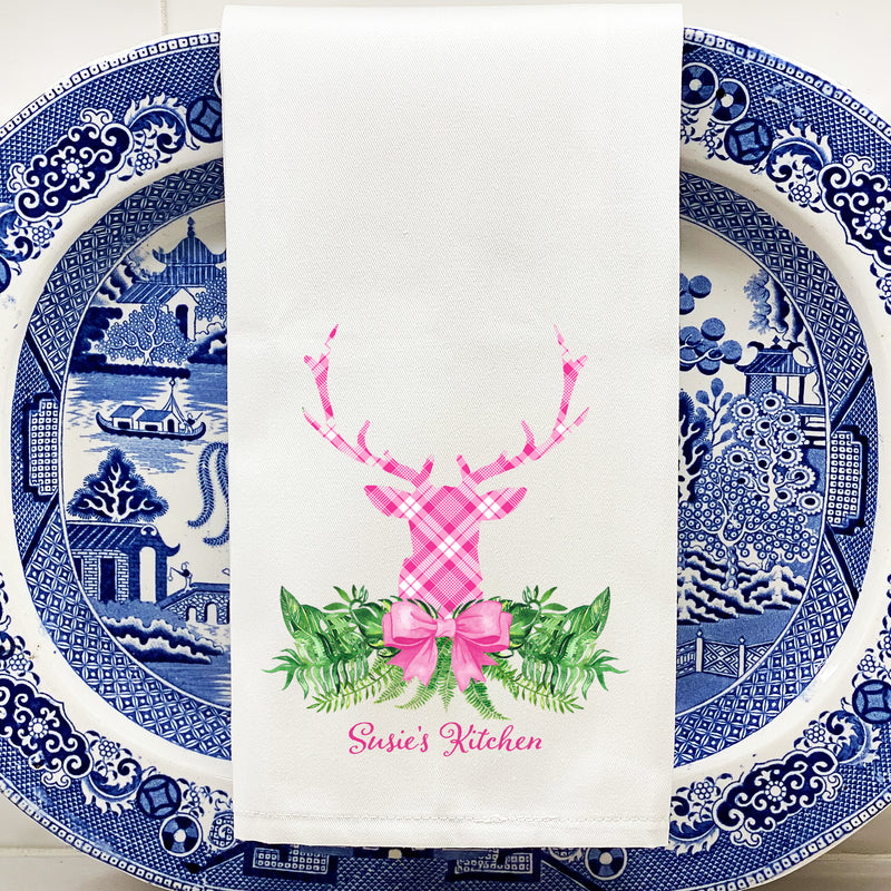 Pink and White Plaid Stag Head Swag Hand Towel