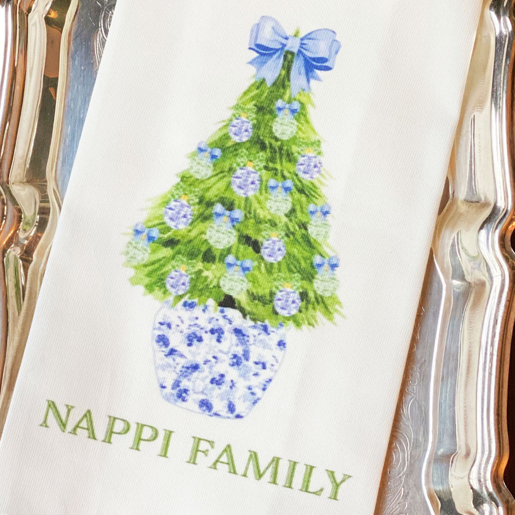 Blue and Green Christmas Tree Hand Towel
