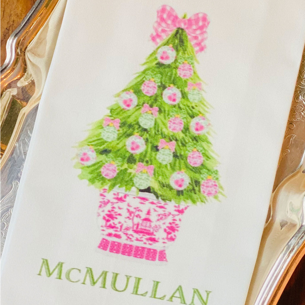 Pink and Green Christmas Tree Hand Towel