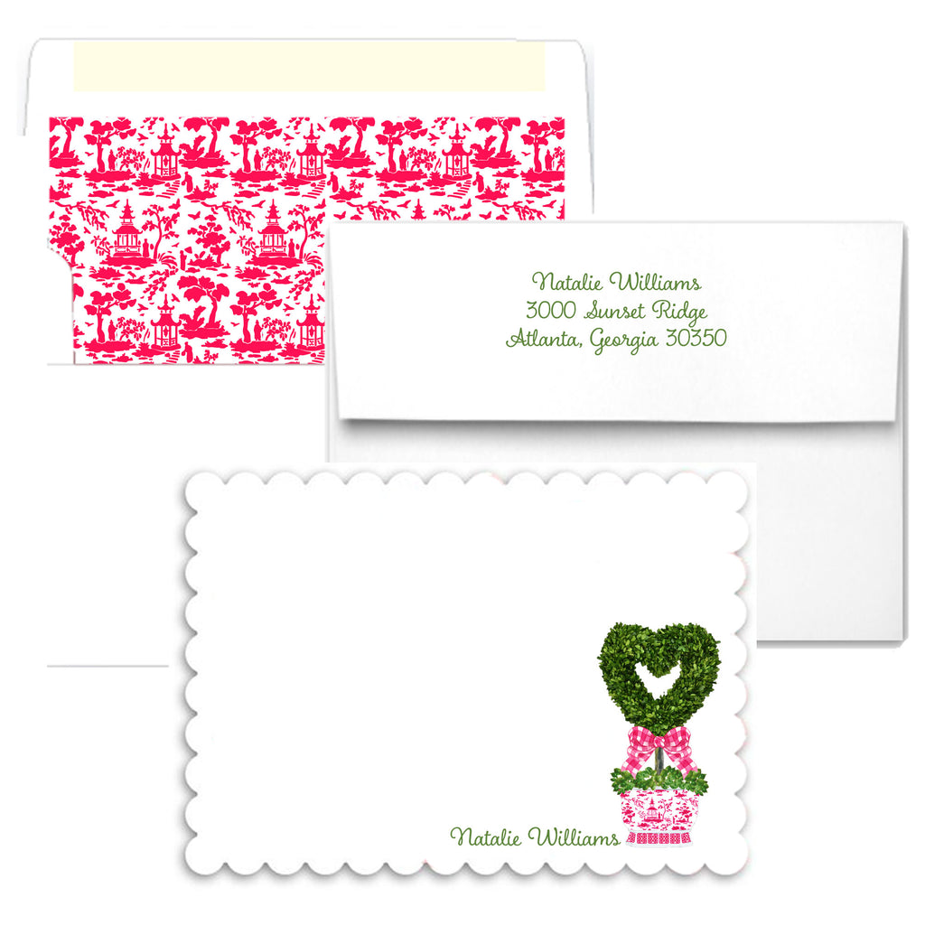 Topiary Heart Scalloped Notecards