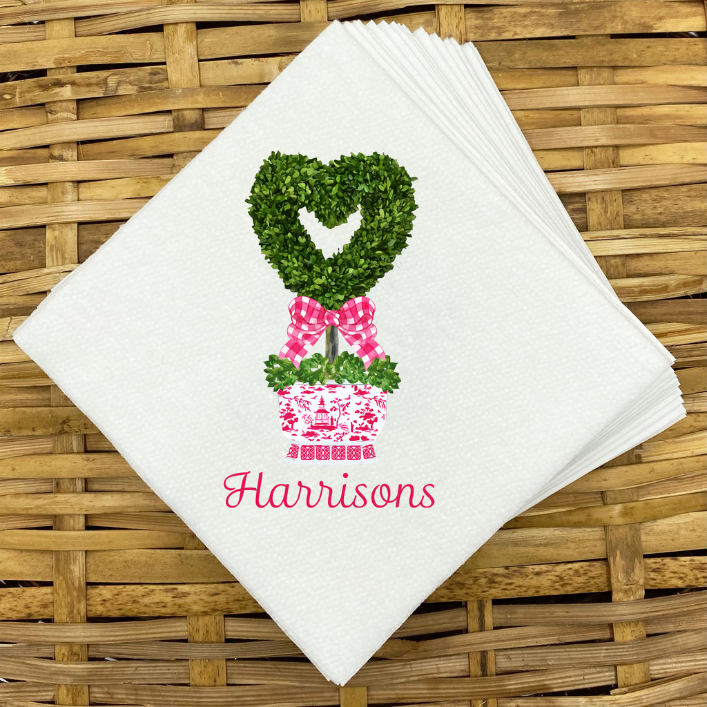 Heart Topiary Napkins and Guest Towels