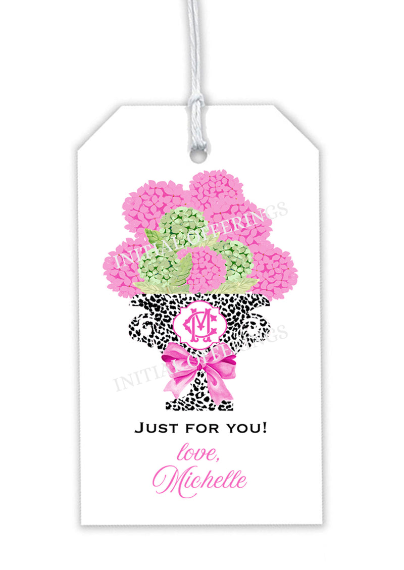 Pink Bouquet in Black Cheetah Urn Gift Tag