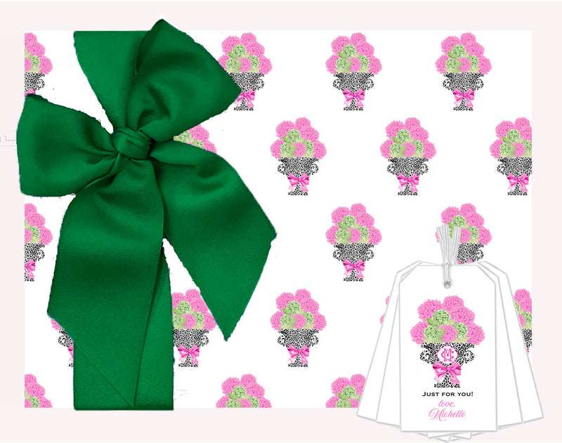 Pink Hydrangeas in Black Cheetah Urn Wrapping Paper