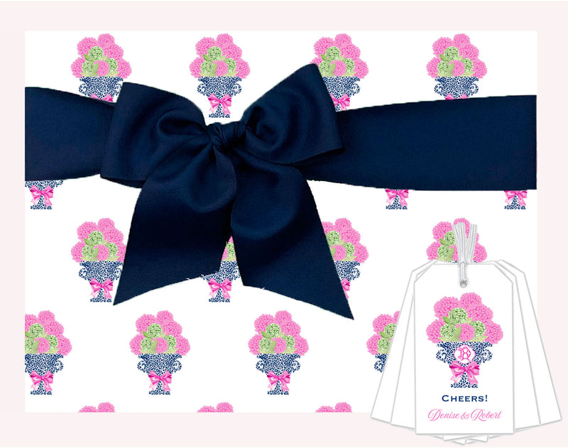 Pink Hydrangeas in Navy Cheetah Urn Wrapping Paper