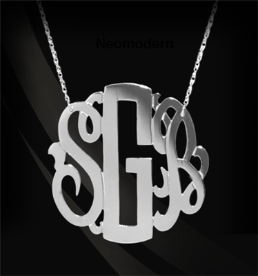 14K Gold or Sterling Silver Block & Script Monogram Necklace