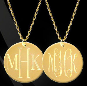 22K Gold over Sterling Silver or Sterling Silver Duel Engraved Disc Necklace