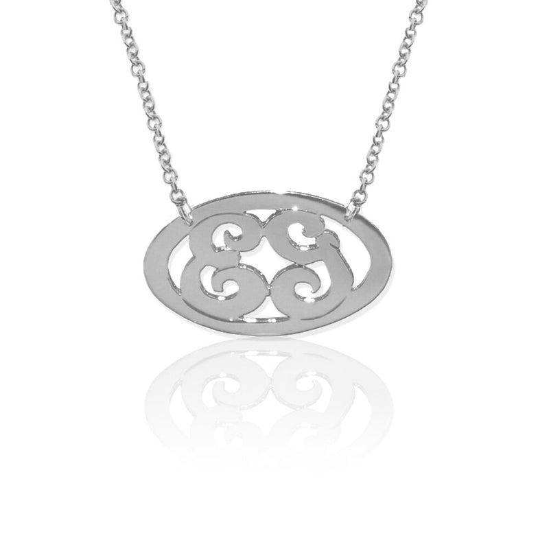 14K Gold or Sterling Silver Delicate Oval 2 Initial Necklace