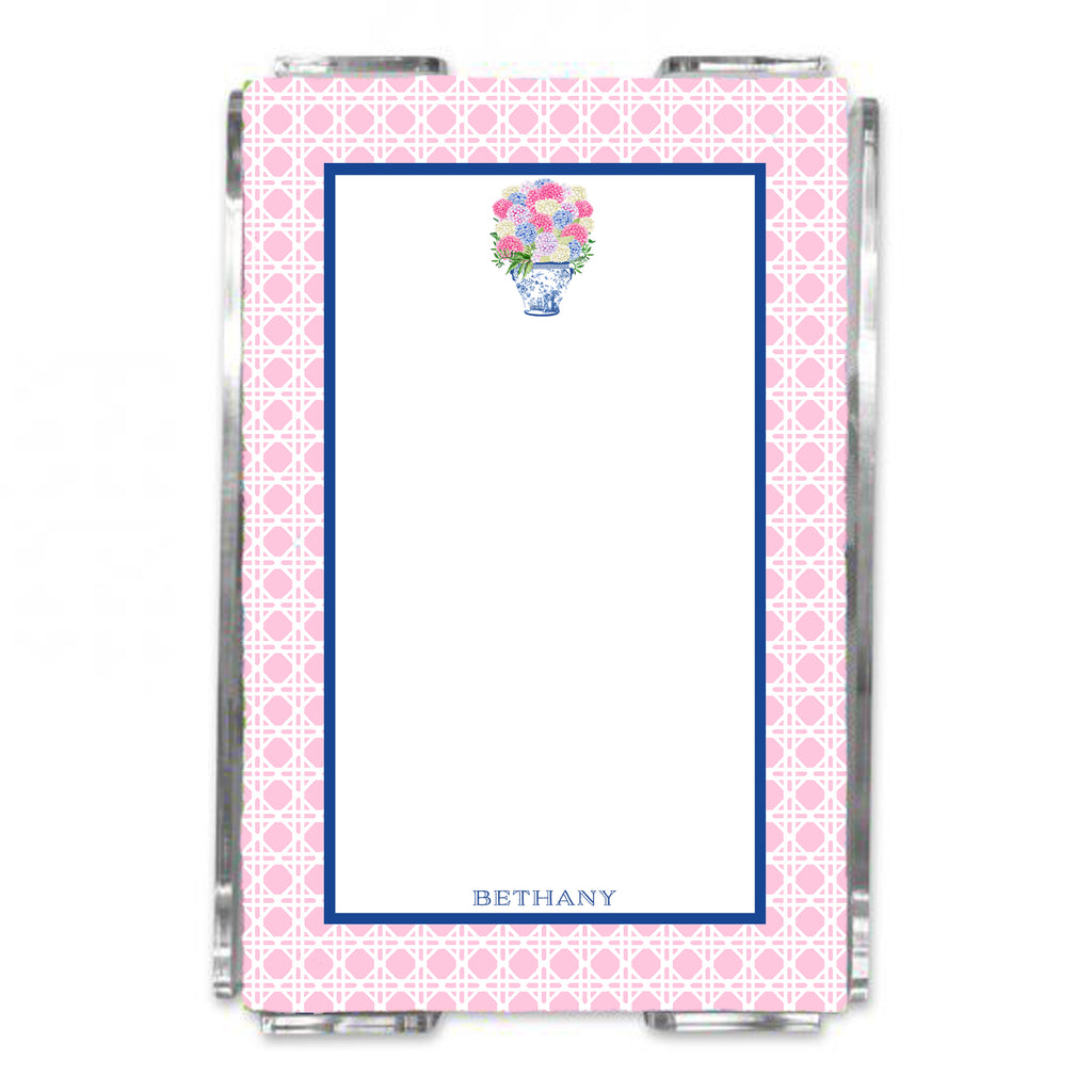 Bouquet Mixed Hydrangeas Loose Note Sheets in Acrylic Holder