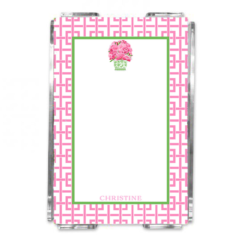Bouquet Pink Peonies Green Planter Loose Note Sheets in Acrylic Holder