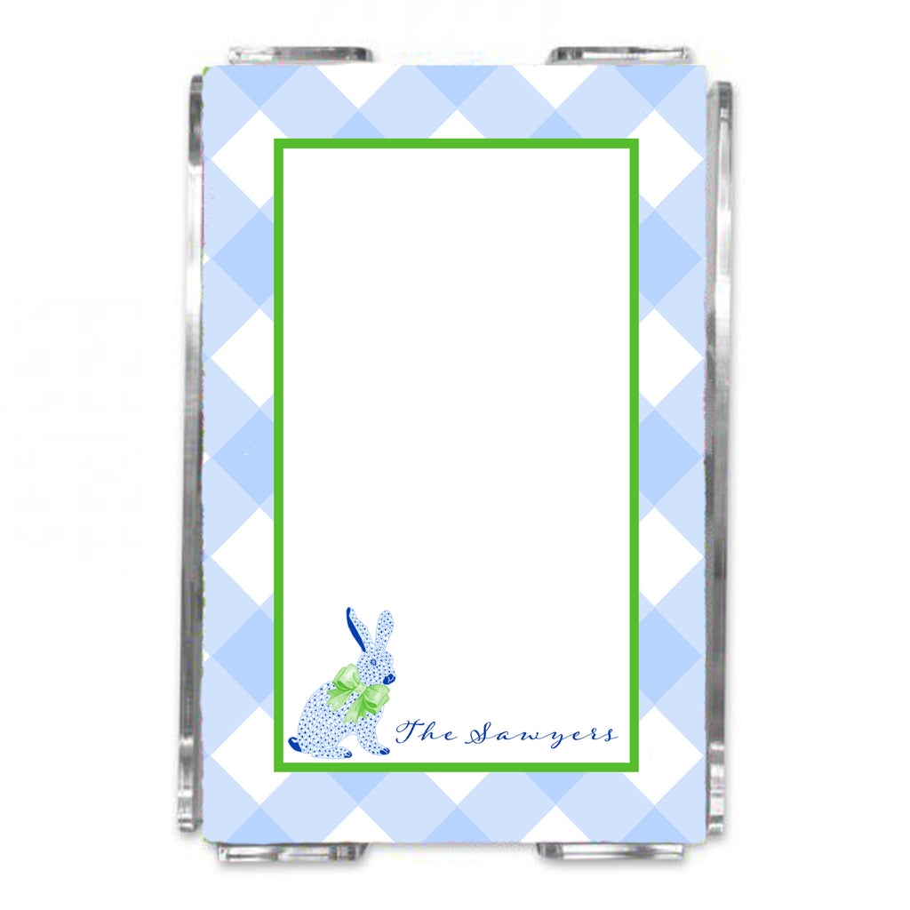 Blue Bunny Loose Note Sheets in Acrylic Holder