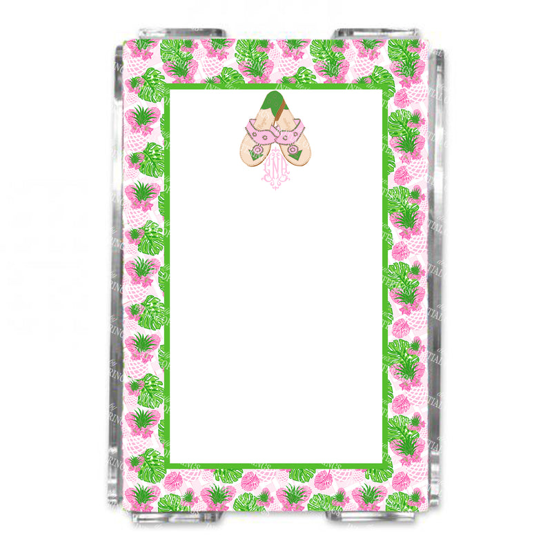Pink and Green Jacks with Monogram Loose Note Sheets in Acrylic Holder