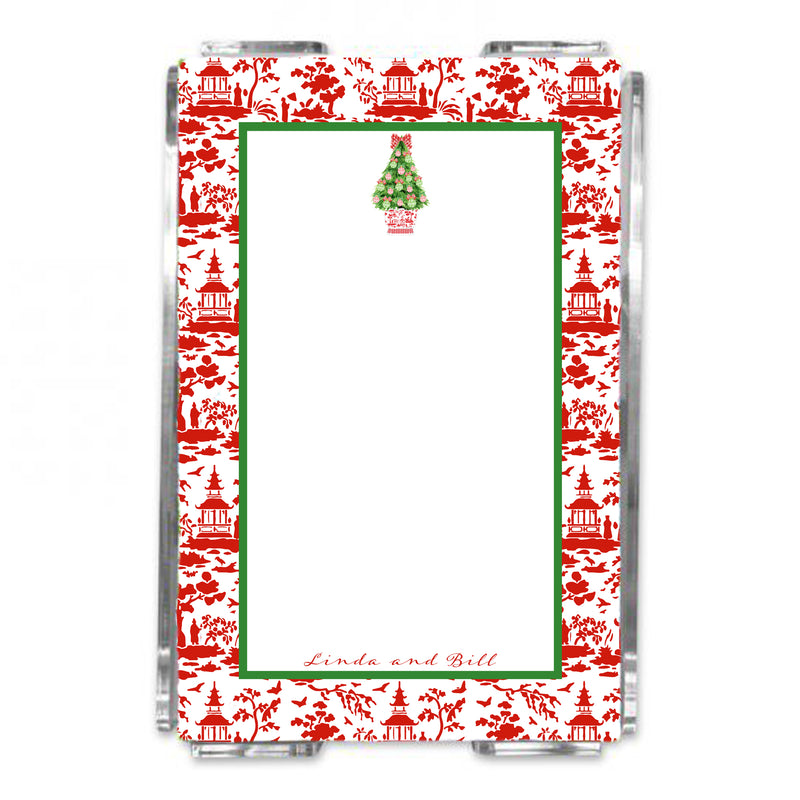 Red and Green Christmas Tree Loose Note Sheets in Acrylic Holder