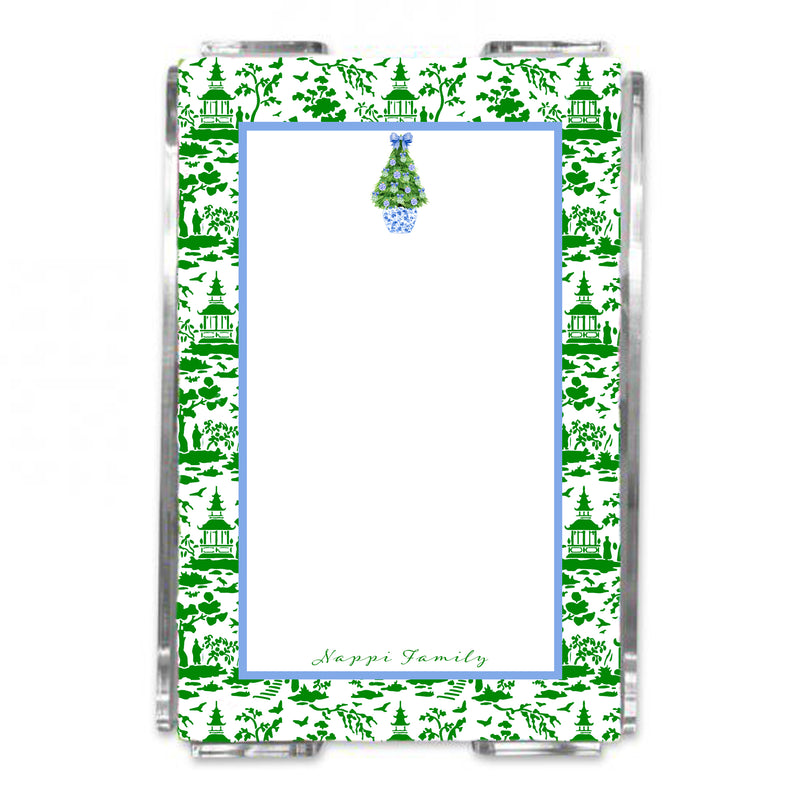 Blue and Green Christmas Tree Loose Note Sheets in Acrylic Holder