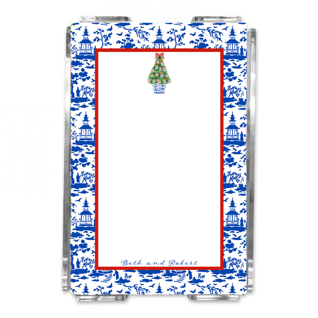Red and Blue Christmas Tree Loose Note Sheets in Acrylic Holder