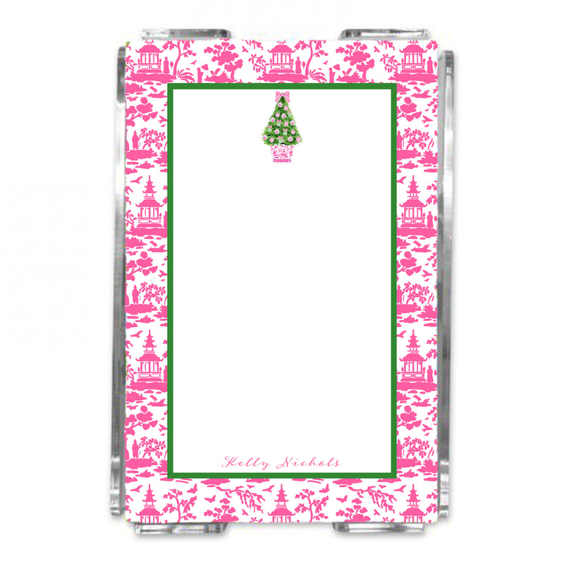 Pink and Green Christmas Tree Loose Note Sheets in Acrylic Holder