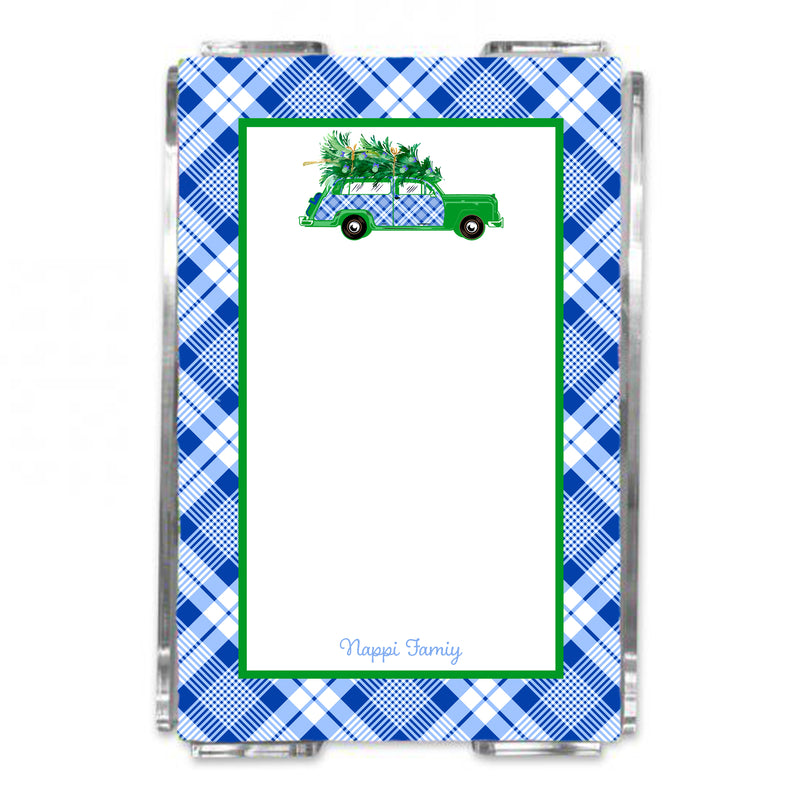 Blue and White Plaid Woody Wagon Loose Note Sheets in Acrylic Holder