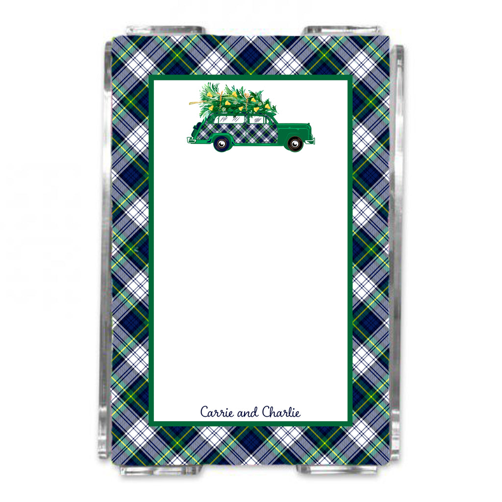 Dress Gordon Tartan Plaid Woody Wagon Loose Note Sheets in Acrylic Holder
