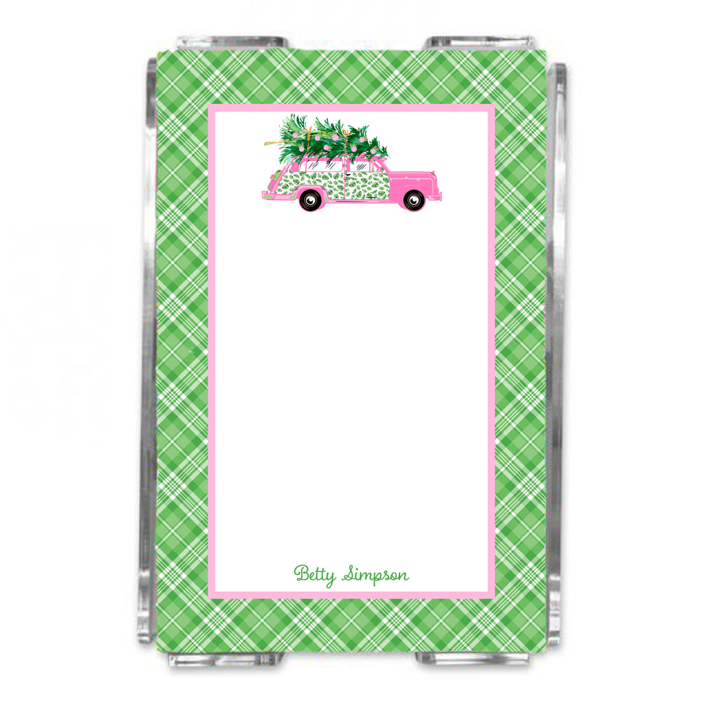 Pink and Green Palm Print Woody Wagon Loose Note Sheets in Acrylic Holder