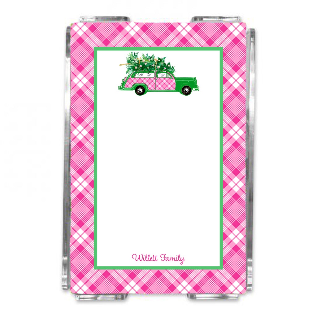 Pink and White Plaid Woody Wagon Loose Note Sheets in Acrylic Holder